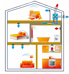 Maison en coupe ventilée